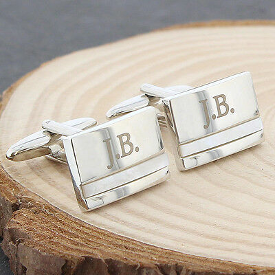 Personalised Engraved Mother of Pearl Mens Silver Cufflink Cuff Links Gift Boxed