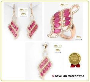 14-8-ct-Ruby-Ring-Earrings-Silver-Pendant-amp-Necklace-Set