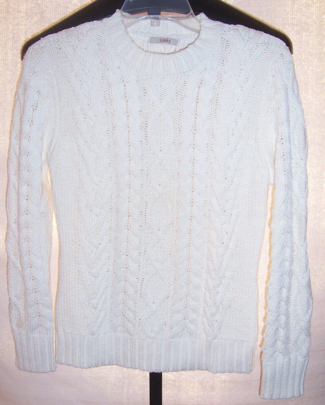 NWT Lloyds White Heavy Cable Knit Cotton Sweater Misses Misses Misses 6 (Eu 38) Made in Spain 6601b3