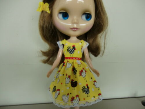 Blythe//Skipper Doll Clothes Yellow Chicken  Print Sundress