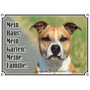 Chien Bouclier - Métal de haute qualité American Staffordshire Terrier Sign In Photo