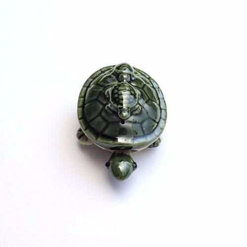 Keramik Schildkröte Turtles Grün glasiert Arme Beine beweglich 9 x 6 x 5 cm  Neu
