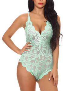 521bf2939b2 Sexy Green Lace Comfortable Plus Size S-2XL Bodysuit Teddy Lingerie ...