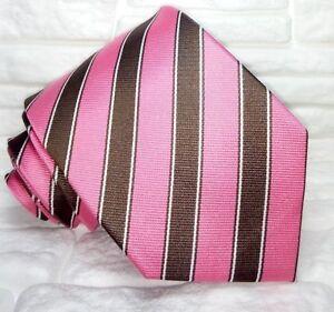Cravatta-uomo-seta-Italia-Regimental-rosa-marrone-bianco-business-formale-casual