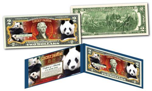Chinese Lucky Money w// Folio /& COA LUCKY PANDA Genuine Legal Tender $2 Bill U.S