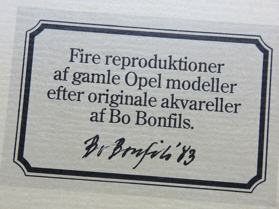 Akvarel reproduktion, Bo Bonfils, motiv: Opel 12 litre
