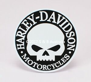 Image Is Loading White Harley Davidson Skull Emblem Motorcycles Badge Metal