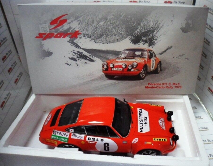 SPA18S029 by SPARKMODEL  PORSCHE 911 S. WINNER MONTE-CARLO RALLY 1970 1 18