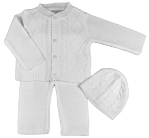 42e7b730f7d3 Baby boy knitted set cardigan trousers hat Spanish style