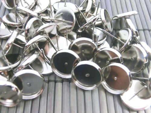 50 Ohrstecker für 12mm Cabochons Farbe antiksilber Ohrringe Rohlinge #S572