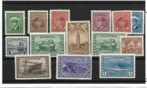 Canada 1942-43 War Issue (14 stamps), WWII, #249-262, Mint F/VF, Lightly hinged