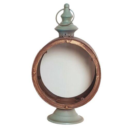 Windlicht Laterne Kerzenhalter Vintage Retro Rund mit Glas NEU 35 cm