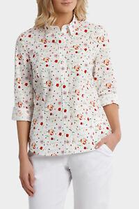 NEW-Trent-Nathan-Liberty-Print-3-4-Sleeve-Shirt-Red