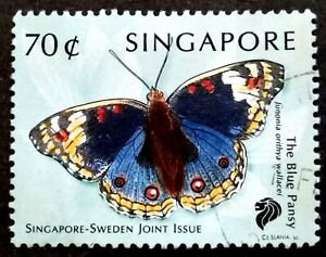 Singapore-1999-Butterflies-Sweden-Joint-Issue-The-Blue-Pansy-70c-1v-Used-1