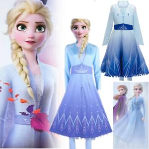 Age 3-11 Y Kids Girls Frozen2 Queen Elsa Cosplay Costume Party Fancy Dress Gifts
