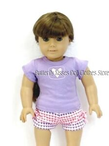 Lavender-Short-Heart-Pajamas-18-in-Doll-Clothes-Fits-American-Girl-Dolls