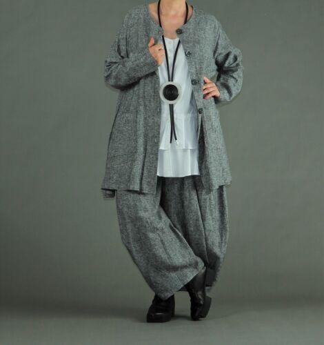 44,46,48,50,52,54 grau-sw-weiß meliert ♦ ♦ AKH Fashion Blusen-Jacke,weit Gr