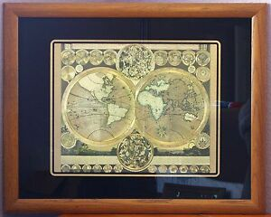 Planisphaerium terrestre vtg gold foil world map after adam zurner image is loading planisphaerium terrestre vtg gold foil world map after gumiabroncs Choice Image