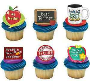 BEST NURSERY TEACHER MIX 12 Edible Stand Up Premium Wafer Cake Toppers