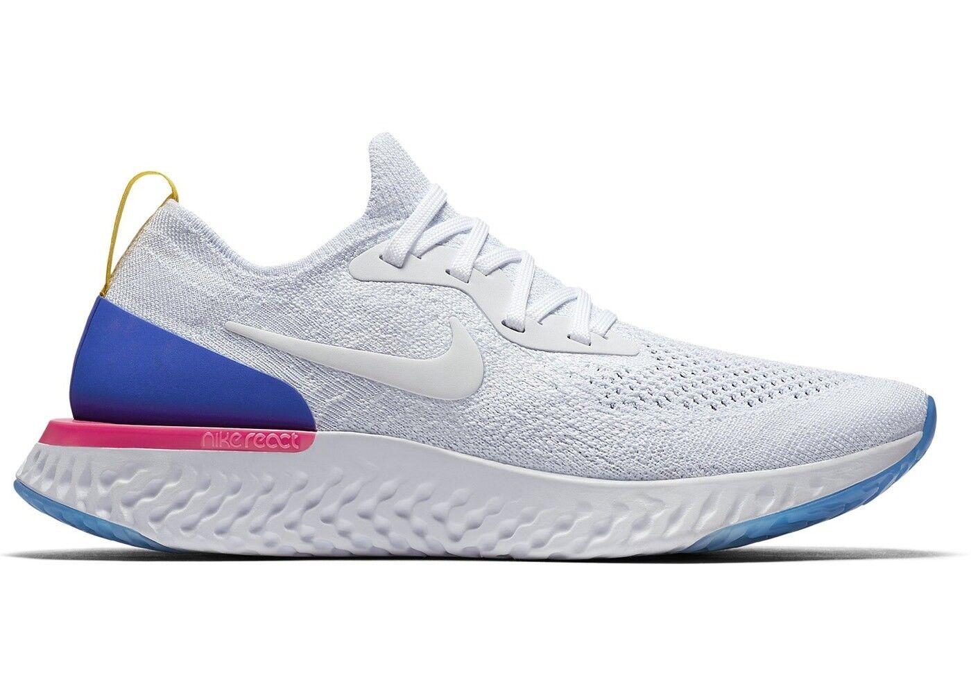 RARE Size    Men's Nike Flynit React - Size 12.5 - White Racer bluee Pink Blast