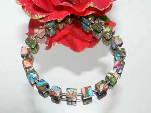 Armband Perlen Schmuck Edelstein Picaso Jaspis multicolor Hämatit silber 214v
