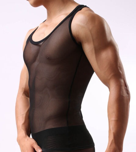 Men/'s Stretch See-through Mesh Vest Underwear Slim Fit  Muscle Tank Top Vest