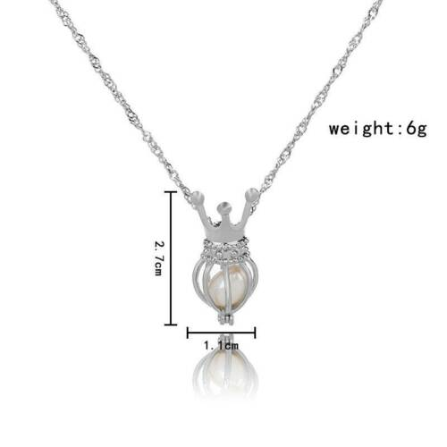 Wholesale Pearl Oyster Bead Silver Locket Cage Pendant Charms Necklace Gift