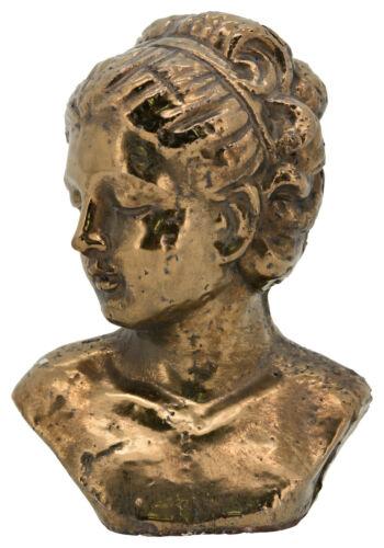 Mme buste tête bronze cuivre couleurs Céramique Shabby Nostalgie Brocante Deco