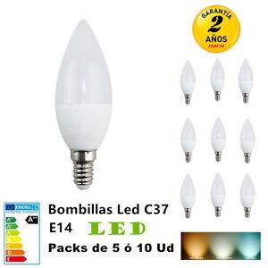 Bombillas-LED-Vela-C37-E14-3W-4W-6W-7W-Packs-5-10-Unidades-500LM-Luz-Fria-Calida
