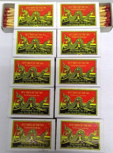 10 Boxes=400 Red Sticks New Original Phrayanak Thailand Wooden Matches