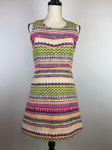 MILLY Neon Raffia Mini Dress Size Small see measur