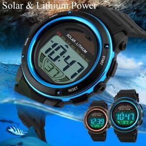 Solar-Lithium-Power-Digital-Sport-Army-Waterproof-LED-Date-Men-Watch-Chronograph