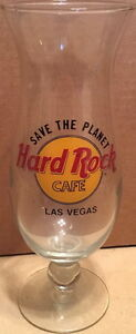 Hard-Rock-Cafe-LAS-VEGAS-Hurricane-Glass-with-Classic-HRC-Logo-amp-SAVE-THE-PLANET