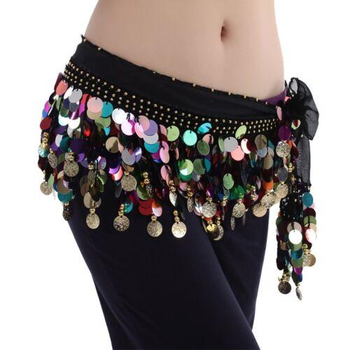 Belly Dance Colorful beads belt Coin Belt Sequins Hip Scarf Skirt Hawaiian Hula
