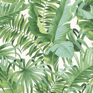 Green-Tropical-Leaf-Palm-Tree-Wallpaper-White-Paste-The-Wall-A-Street-Prints
