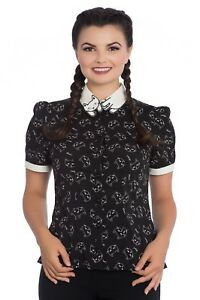 Hell-Bunny-Matou-Meow-Cat-Collar-Kitten-Blouse-Vintage-Retro-50-039-s-Punk-Top-Shirt
