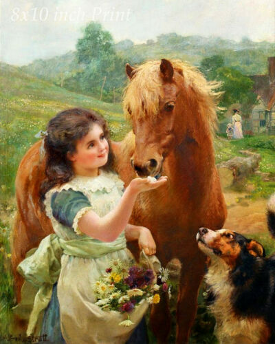 Girl Dog Horse Sugar 8x10 Print Picture 1580 A Sweet Tooth by William Strutt