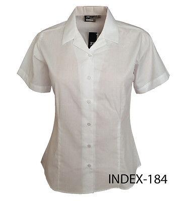 Girls Ladies Revere Collar Short Sleeve Fitted Blouse School Uniform Office Wear