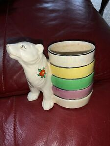 Vintage-Ceramic-White-Polar-Bear-Planter-Vase-With-Painted-Flowers-Japan
