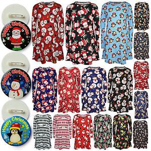 Girls-Christmas-Dress-Santa-Snowman-Penguin-Xmas-Fashion-Dresses-With-Free-Badge