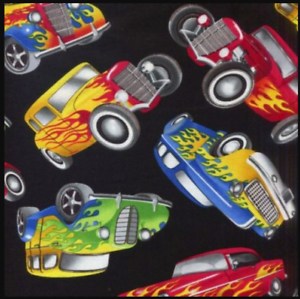 Timeless-Treasures-Tossed-Cars-Black-Hot-Rods-100-cotton-fabric-by-the-yard