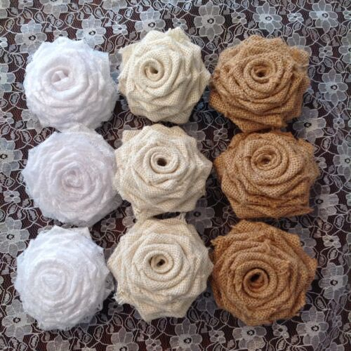 De hesse et dentelle roses mariage shabby chic vintage x 15