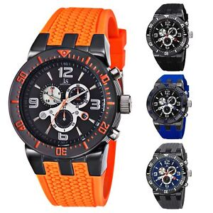 Men-039-s-Joshua-amp-Sons-JS55-Swiss-Quartz-Chronograph-Silicone-Strap-Watch