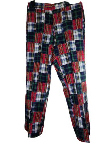 Orvis Golf Pants Madras Tartan Plaid Patchwork Cot