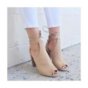 Jaylen-039-Peep-Toe-Bootie-SPLENDID-heels-ankle-wrap-Size-8-5-Nude-BARELY-USED