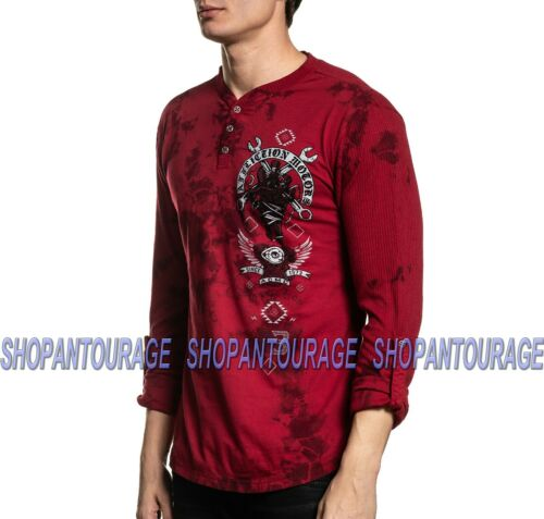 Affliction Bad Luck Motors A19776 New Long Sleeve Graphic Henley T-shirt For Men