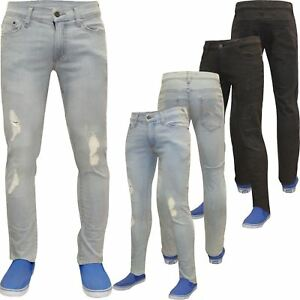 Mens-Designer-Skinny-Stretch-Jeans-Distressed-Ripped-Jeans-Frayed-Denim-Pants