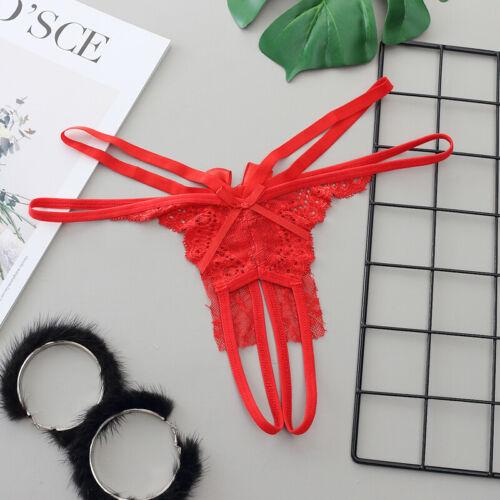 Women Briefs Crotchless Lingerie Panties G-string Transparent Lace Briefs Thong