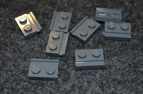 (8) 1x2 Dark Gray Plate w/ Rail or Slide Bricks ~ Lego ~ NEW ~ Castle