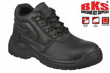 Mens Safety Work Boots with Steel Toe Cap & Steel Mid Sole Size 3 to 13 UK - BKS